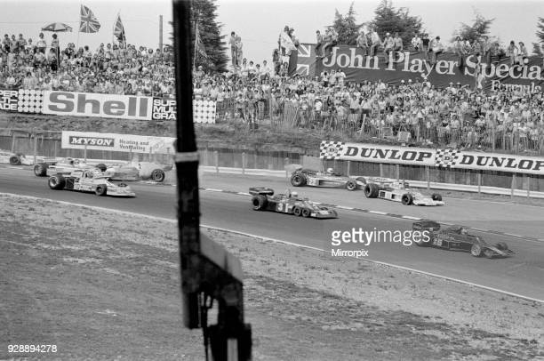 James Hunt crashes but after a restart, still eventually wins 1976 The British Grand Prix at Brands Hatch. British driver James Hunt was involved in...