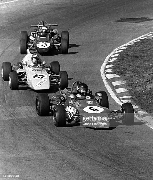 James Hunt driving the STP March Racing Team March 723 Ford Vegantune leads Colin Vanderwell in the Potterton International Ensign LNF3 Ford...