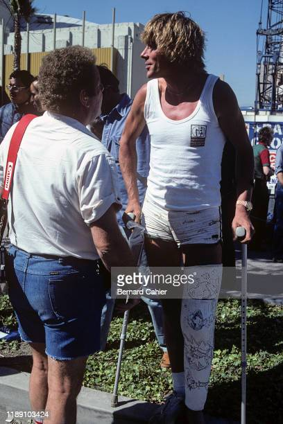 James Hunt, Grand Prix of the United States West, Long Beach, 30 March 1980. James Hunt in the Long Beach Grand Prix paddock in 1980, when he had a...