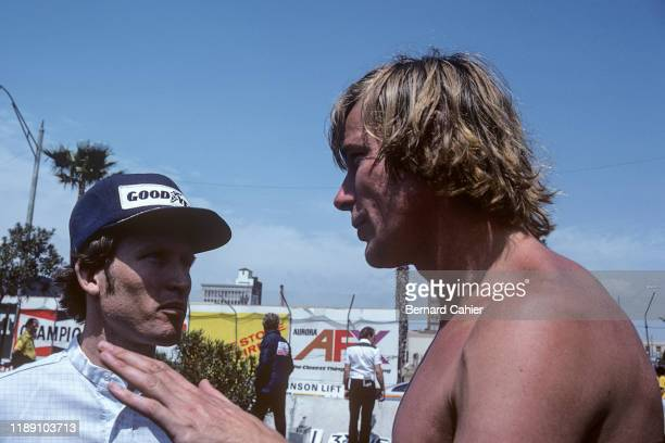 James Hunt, Kenny Roberts, Grand Prix of the United States, Watkins Glen International, 07 October 1979. James Hunt in discussion with Motorcycle...