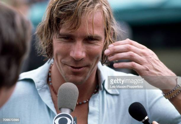 James Hunt of Great Britain being interviewed prior to competing in the 1978 BRDC International Trophy Race at Silverstone, England on 19th March...
