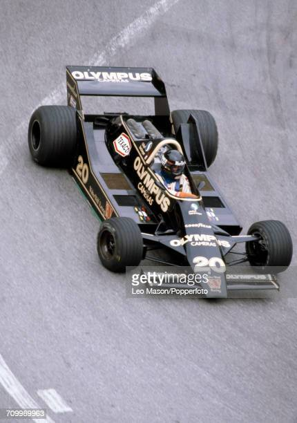 James Hunt of Great Britain drives the Olympus Cameras Wolf Racing Wolf WR7 Ford Cosworth DFV V8 in action during the Monaco Grand Prix in monte...