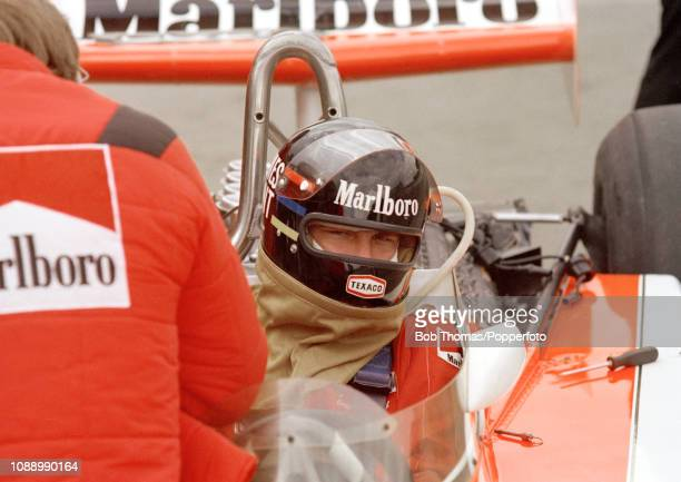 James Hunt of Great Britain in the McLaren M23 during the Race of Champions at the Brands Hatch circuit in Fawkham, England on March 20, 1977.