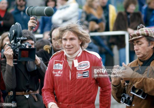 James Hunt of Great Britain, who drove the Marlboro Team McLaren McLaren M26 Ford Cosworth DFV V8, pictured after winning the Formula One British...