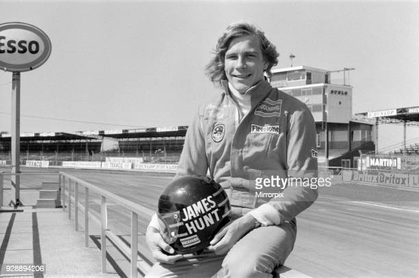 James Hunt, poses for camera before he tests his Hesketh car at Silverstone race track, picture taken 18th April 1974.