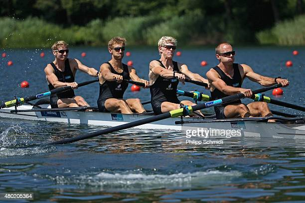 James Hunter Alistair Bond James Lassche and Curtis Rapley of New Zealand compete in the Lightweight Men's Four heats during Day 1 of the 2015 World...