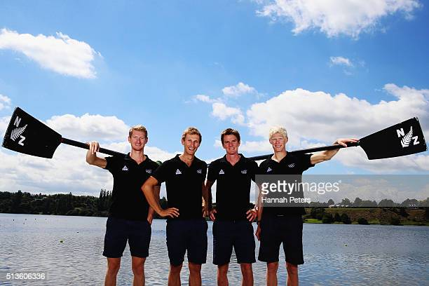 James Hunter Alistair Bond Peter Taylor and James Lassche pose for a photo during the New Zealand Olympic Rowing Team Announcement at Lake Karapiro...