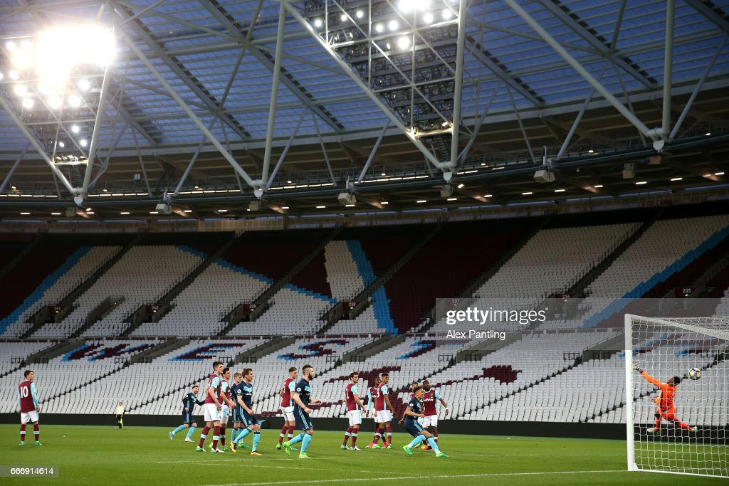 James Husband of Middlesbrough scores his sides first goal from a freekick during the Premier League 2 match between West Ham United and Middlesbrough at London Stadium on April 10, 2017 in Stratford, England.