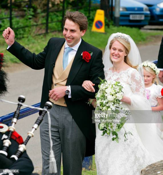 James Hutt and Emily McCorquodale leave The Church of St Andrew and St Mary Stoke Rochford after their wedding on June 9 2012 in Grantham England