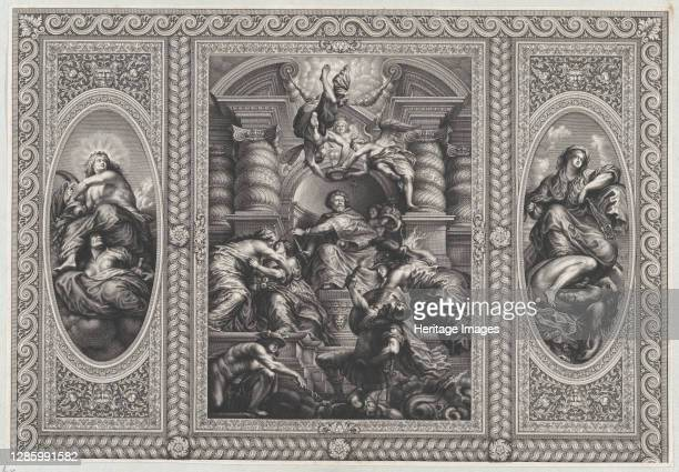 James I appointing Charles as King of Scotland at center, Minerva spearing Ignorance at right, and Hercules beating Envy at left, 1720. Artist Simon...