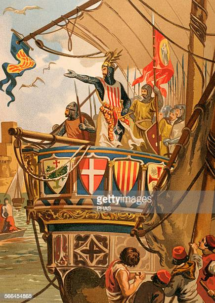 James I of Aragon King of Aragon Embarkation of James I to the conquest of Majorca 1229 Engraving in Spanish Glorias Ramon Molinas editor