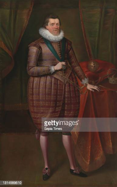 James I of England , Attributed to Paul van Somer, ca. 1576–1621, Flemish, active in Britain , ca. 1618, Oil on canvas, Support : 86 1/4 × 54 3/4...