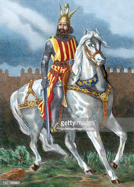James I The Conqueror on horseback, Count of Barcelona and King of Aragon , Valencia and Majorca , Nineteenth century colored engraving.