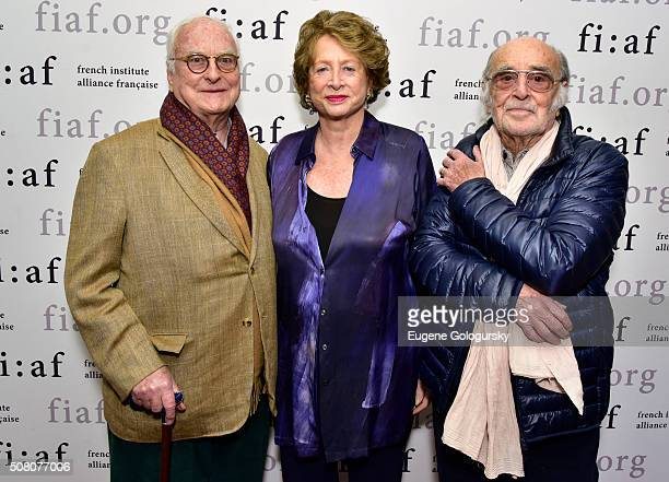 James Ivory Marie Monique Steckel and Pierre Lhomme attend the FIAF's CineSalon Screening Of 'Maurice' at Florence Gould Hall on February 2 2016 in...