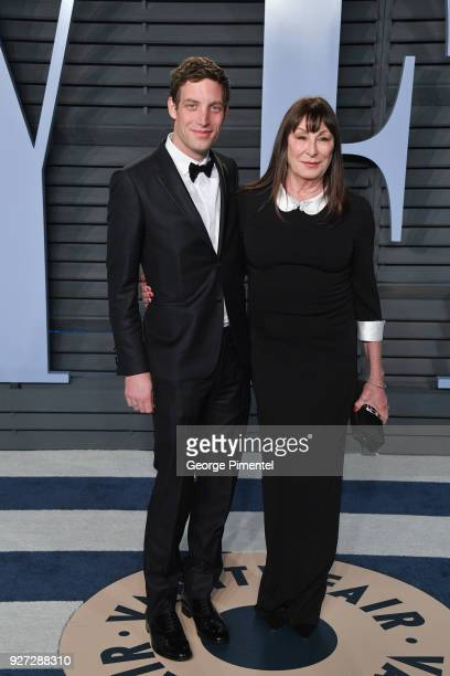 James Jagger and Anjelica Huston attend the 2018 Vanity Fair Oscar Party hosted by Radhika Jones at Wallis Annenberg Center for the Performing Arts...
