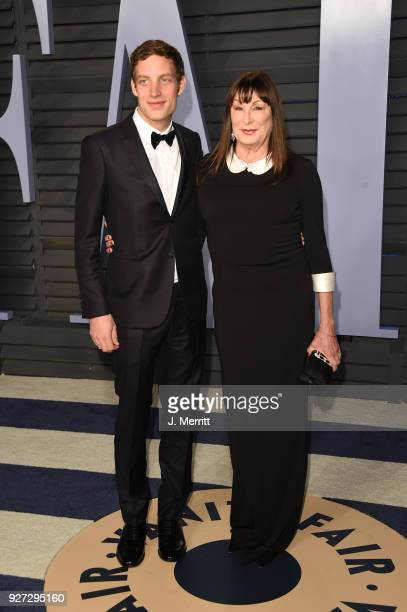 James Jagger and Anjelica Huston attend the 2018 Vanity Fair Oscar Party hosted by Radhika Jones at the Wallis Annenberg Center for the Performing...