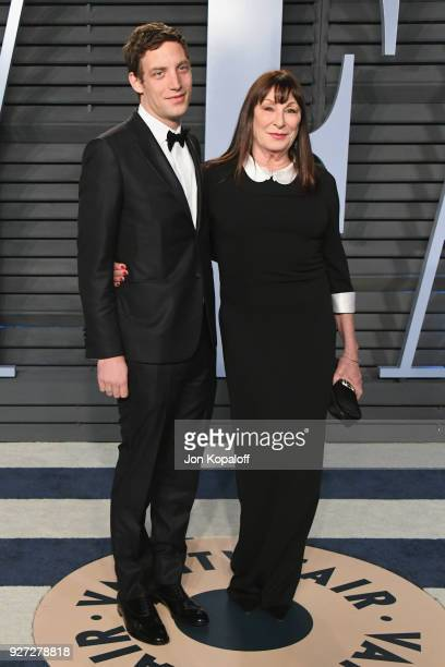 James Jagger and Anjelica Huston attends the 2018 Vanity Fair Oscar Party hosted by Radhika Jones at Wallis Annenberg Center for the Performing Arts...