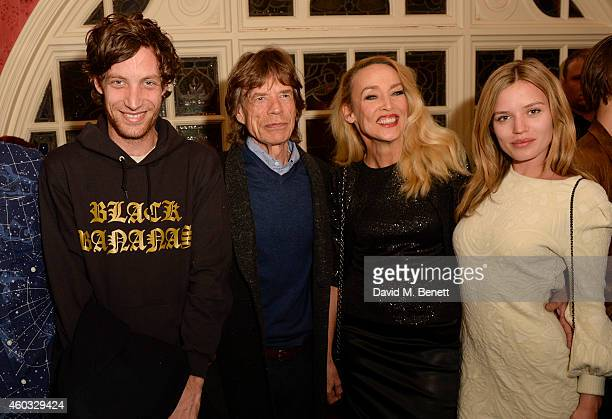 James Jagger Sir Mick Jagger Jerry Hall and Georgia May Jagger attend the press night performance of 'Snow White And The Seven Dwarfs' at the...