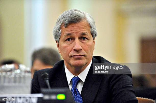 James Jamie Dimon chairman president and chief executive officer of JPMorgan Chase Co pauses during testimony before the Financial Crisis Inquiry...