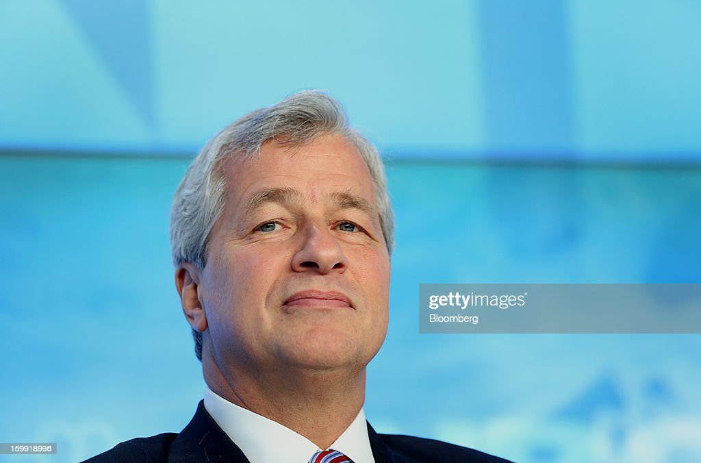 James 'Jamie' Dimon, chief executive officer of JPMorgan Chase & Co., listens during a panel discussion on the opening day of the World Economic Forum (WEF) in Davos, Switzerland, on Wednesday, Jan. 23, 2013. World leaders, Influential executives, bankers and policy makers attend the 43rd annual meeting of the World Economic Forum in Davos, the five day event runs from Jan. 23-27. Photographer: Chris Ratcliffe/Bloomberg via Getty Images