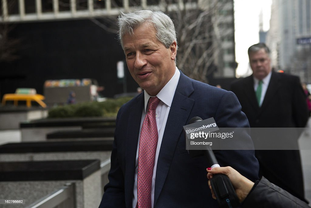 James 'Jamie' Dimon, chief executive officer of JPMorgan Chase & Co., arrives at an investors meeting at company headquarters in New York, U.S., on Tuesday, Feb. 26, 2013. JPMorgan Chase & Co., the biggest U.S. bank, expects headcount to decline by about 4,000 in 2013 as Dimon targets mortgage operations for cuts. Photographer: Victor J. Blue/Bloomberg via Getty Images/Bloomberg via Getty Images