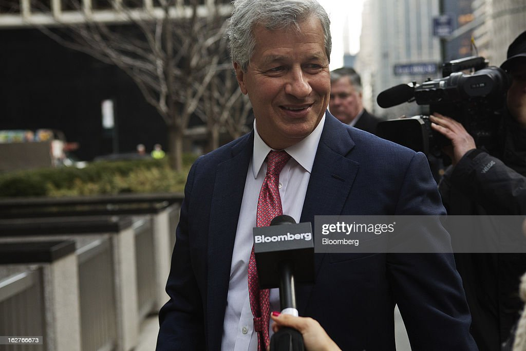 James 'Jamie' Dimon, chief executive officer of JPMorgan Chase & Co., arrives at an investors meeting at company headquarters in New York, U.S., on Tuesday, Feb. 26, 2013. JPMorgan Chase & Co., the biggest U.S. bank, expects headcount to decline by about 4,000 in 2013 as Dimon targets mortgage operations for cuts. Photographer: Victor J. Blue/Bloomberg via Getty Images