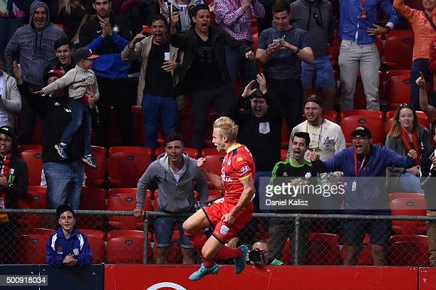 James Jeggo of United reacts after scoring a goal during the round 10 A-League match between Adelaide United and Sydney FC at Coopers Stadium on...