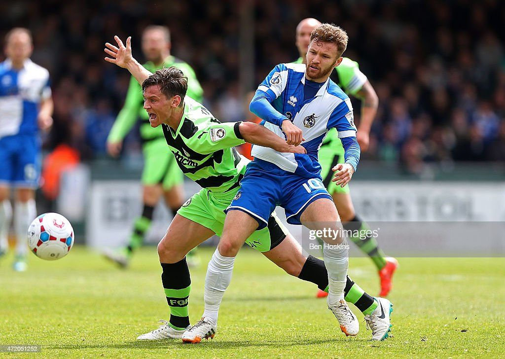 James Jennings of Forest Green holds off the challenge of Matty Taylor of Bristol during the Vanarama Football Conference League Play Off Semi Final Second Leg between Bristol Rovers and Forest Green Rovers at Memorial Stadium on May 3, 2015 in Bristol, England.