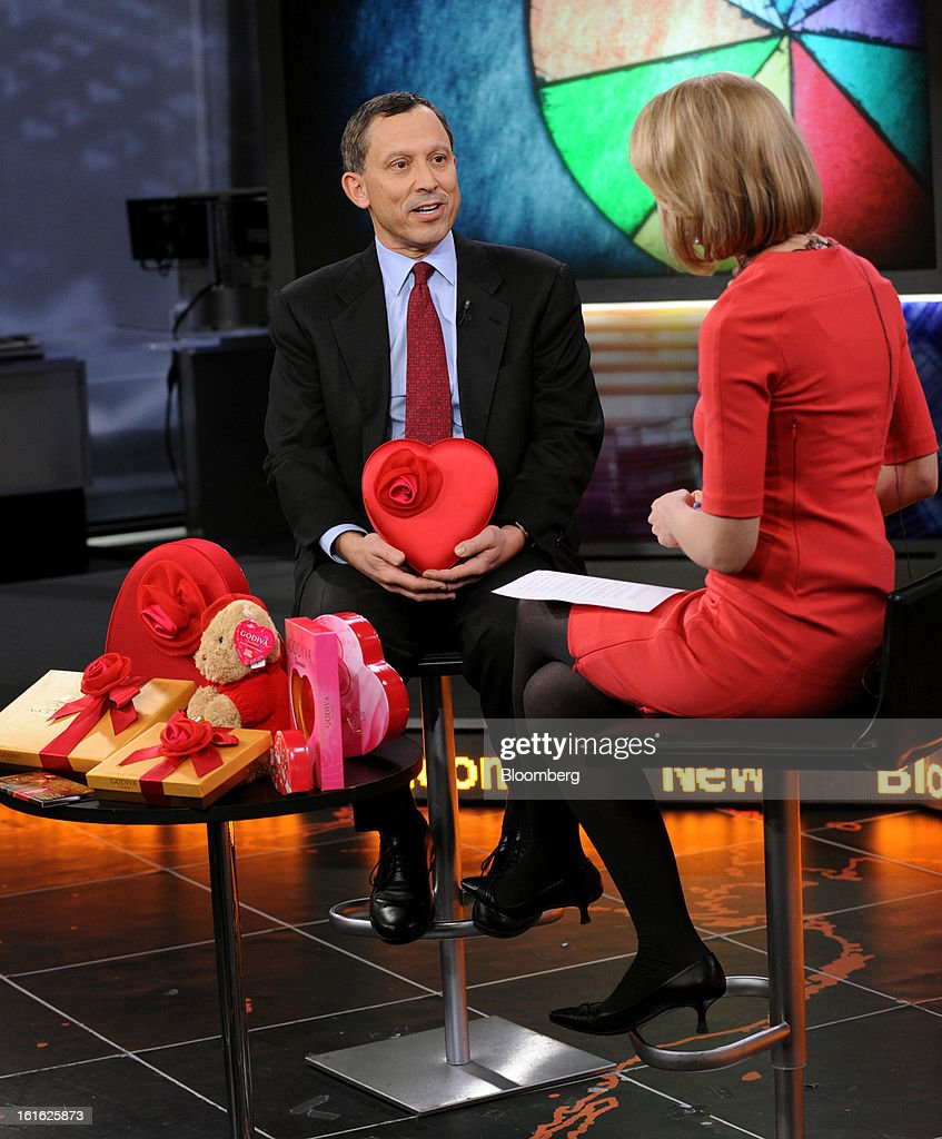 James 'Jim' Goldman, president and chief executive officer of Godiva Chocolatier Inc., left, speaks during a Bloomberg Television interview in New York, U.S., on Wednesday, Feb. 13, 2013. Godiva Chocolatier, manufacturer of premium chocolates and related products, owns and operates more than 600 retail boutiques and shops in the United States, Canada, Europe, and Asia. Photographer: Peter Foley/Bloomberg via Getty Images