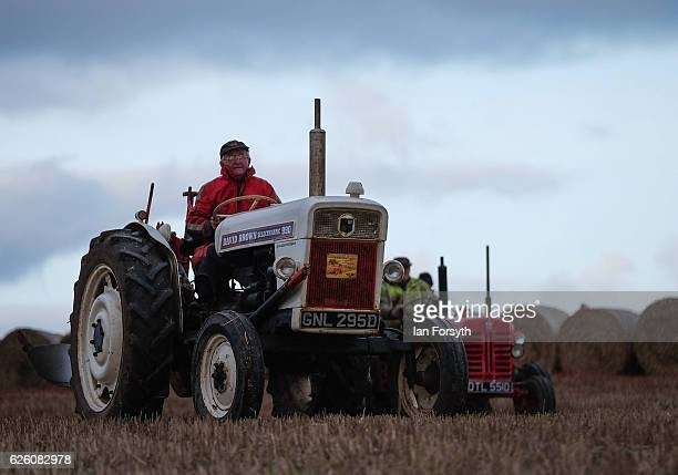 James Jobson from Hartlepool drives his David Brown 990 tractor during the annual ploughing match on November 27, 2016 in Staithes, United Kingdom....