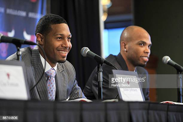 James Johnson and Taj Gibson of the Chicago Bulls answer questions during a press conference introducing the pair as the team's 2009 first round...