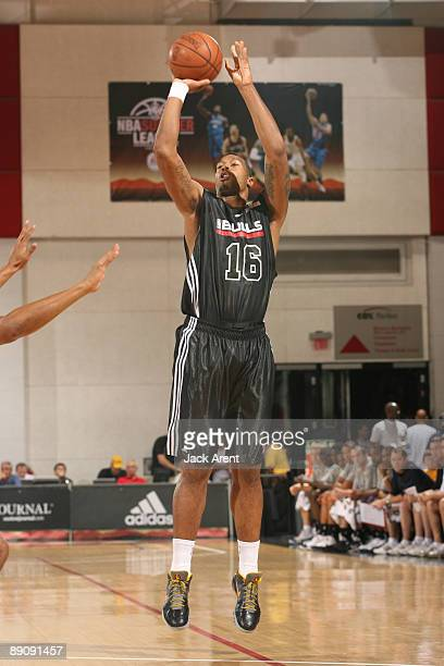 James Johnson Chicago Bulls shoots the ball against the New York Knicks the during the NBA Summer League presented by EA Sports on July 18 2009 at...