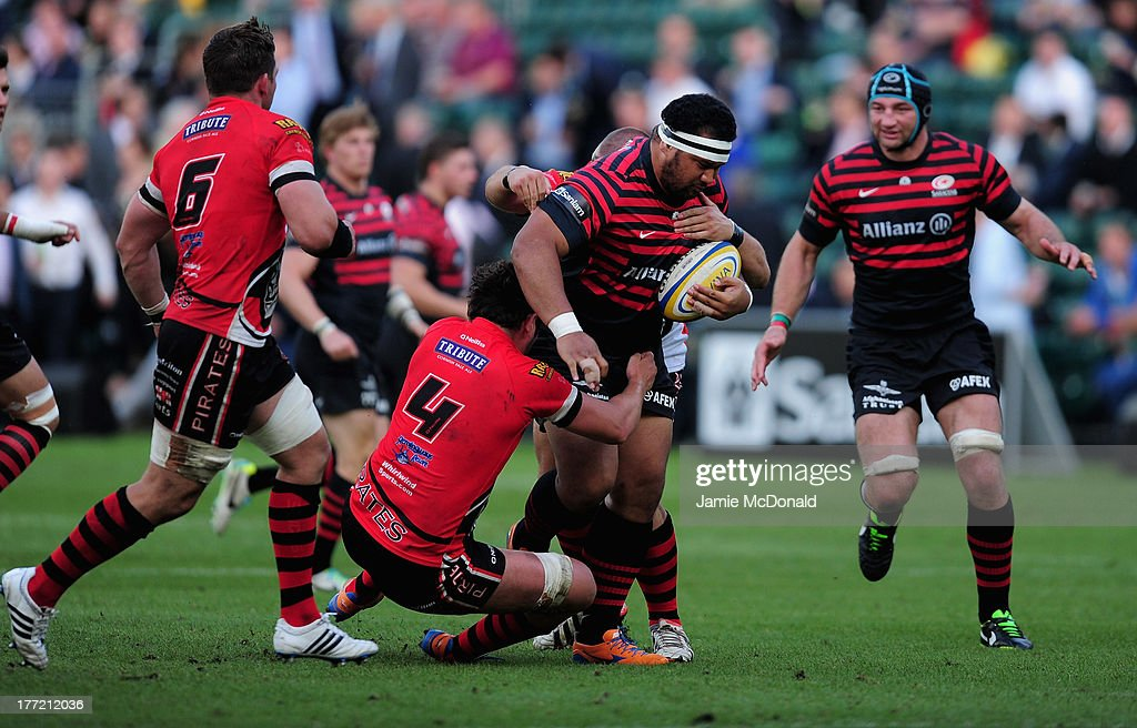 James Johnson of Saracens in action during the pre season friendly match between Saracens and Cornish Pirates at Honourable Artillery Company on August 22, 2013 in London, England.