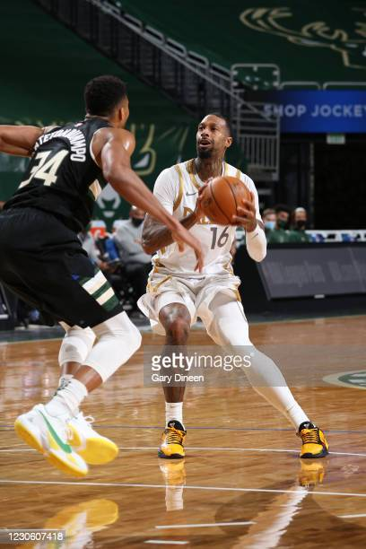 James Johnson of the Dallas Mavericks handles the ball during the game against the Milwaukee Bucks on January 15, 2021 at the Fiserv Forum Center in...