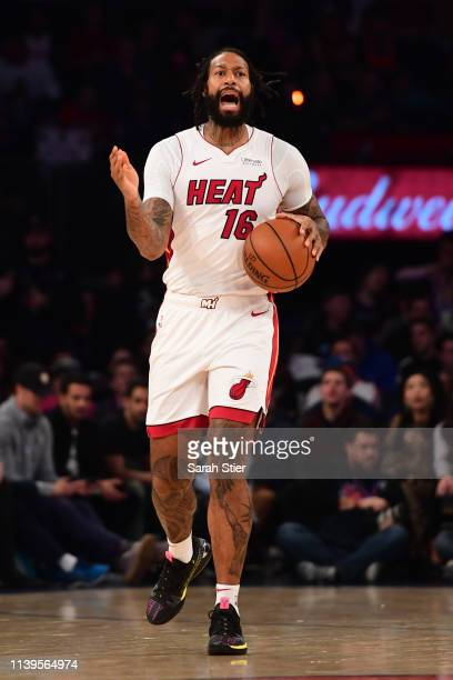 James Johnson of the Miami Heat calls a play during the first half of the game against the New York Knicks at Madison Square Garden on March 30 2019...