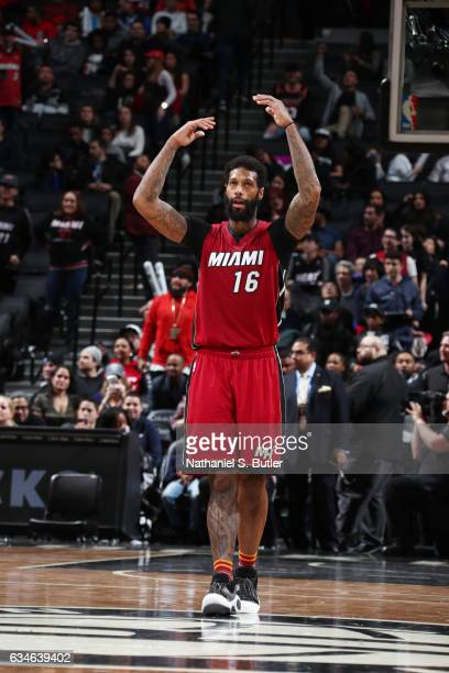 James Johnson of the Miami Heat celebrates a win against the Brooklyn Nets on February 10 2017 at Barclays Center in Brooklyn New York NOTE TO USER...