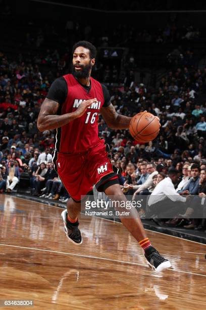 James Johnson of the Miami Heat drives to the basket against the Brooklyn Nets during the game on February 10 2017 at Barclays Center in Brooklyn New...