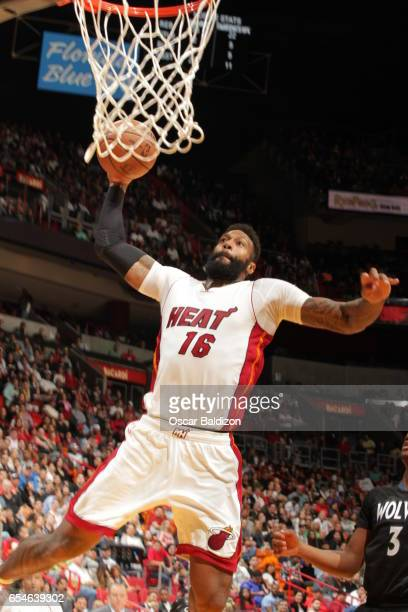 James Johnson of the Miami Heat dunks against the Minnesota Timberwolves on March 17 2017 at AmericanAirlines Arena in Miami Florida NOTE TO USER...