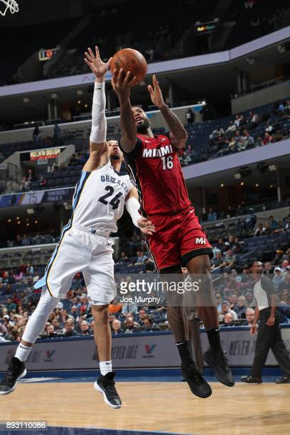 James Johnson of the Miami Heat goes for a lay up against the Memphis Grizzlies on December 11 2017 at FedExForum in Memphis Tennessee NOTE TO USER...