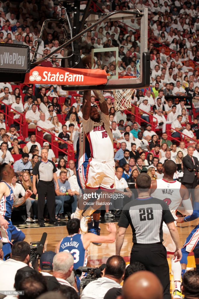 best sneakers 5a6fb 70785 Philadelphia 76ers v Miami Heat - Game Four. MIAMI, FL - APRIL 21  James  Johnson  16 of the Miami Heat goes to the basket against ...