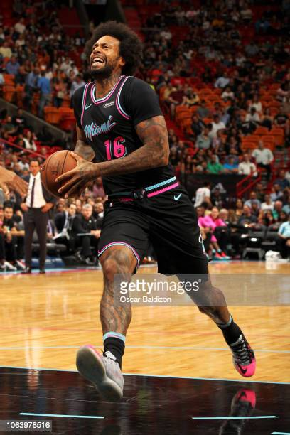 James Johnson of the Miami Heat goes to the basket against the Brooklyn Nets on November 20 2018 at American Airlines Arena in Miami Florida NOTE TO...