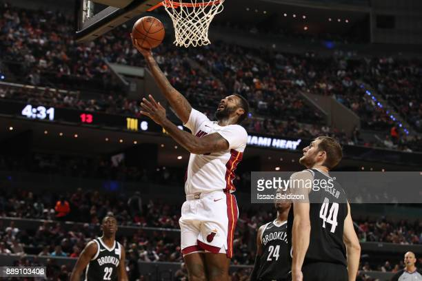 James Johnson of the Miami Heat goes to the basket against the Brooklyn Nets as part of the NBA Mexico Games 2017 on December 9 2017 at the Arena...