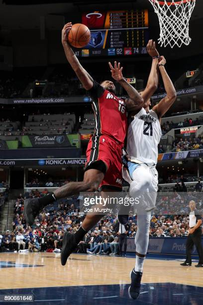 James Johnson of the Miami Heat goes to the basket against the Memphis Grizzlies on December 11 2017 at FedExForum in Memphis Tennessee NOTE TO USER...