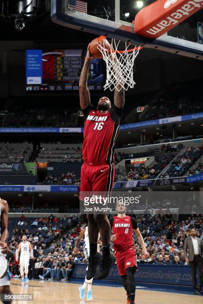 James Johnson of the Miami Heat goes up for a dunk against the Memphis Grizzlies on December 11 2017 at FedExForum in Memphis Tennessee NOTE TO USER...