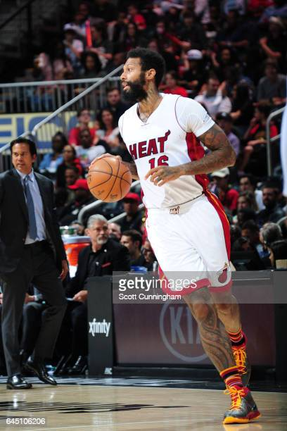 James Johnson of the Miami Heat handles the ball against the Atlanta Hawks on February 24 2017 at Philips Arena in Atlanta Georgia NOTE TO USER User...