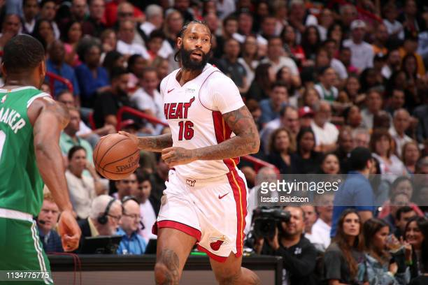 James Johnson of the Miami Heat handles the ball against the Boston Celtics on April 3 2019 at American Airlines Arena in Miami Florida NOTE TO USER...