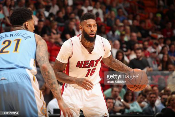 James Johnson of the Miami Heat handles the ball against the Denver Nuggets on April 2 2017 at American Airlines Arena in Miami Florida NOTE TO USER...