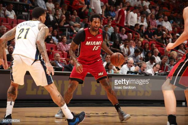 James Johnson of the Miami Heat handles the ball against the Denver Nuggets on March 19 2018 at American Airlines Arena in Miami Florida NOTE TO USER...