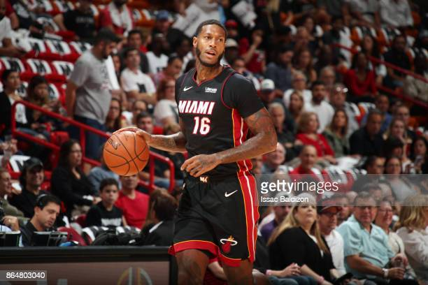 James Johnson of the Miami Heat handles the ball against the Indiana Pacers on October 21 2017 at American Airlines Arena in Miami Florida NOTE TO...