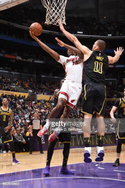 James Johnson of the Miami Heat handles the ball against the Los Angeles Lakers on March 16 2018 at STAPLES Center in Los Angeles California NOTE TO...